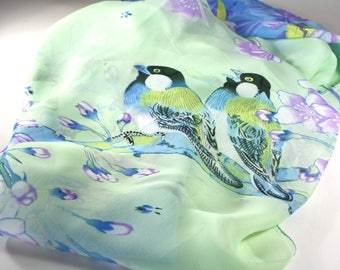 Womens scarves, Unique handmade scarves, Unique scarves, Fashion scarves, Spring summer scarves, Birds scarves, Blue scarves, Green scarves