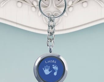 Set of 2 Baby Hand or Foot Print Glass Keyring - Baby Handprint - Baby Footprint - Hand Print - Foot Print - Kit Supplied To Take Prints