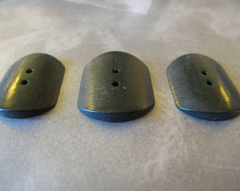 3 dark green unusually shaped Bakelite DECO  1920's buttons 20 mm by 17 mm diameter 130517/6