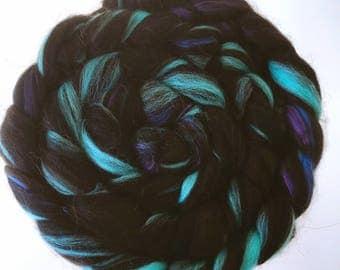 Raven's Song ~ Custom blended top for spinning Baby Alpaca BFL Silk Bamboo black blue purple aqua 100g