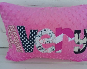 personalized applique name pillow- minky name throw pillow-kids throw pillow