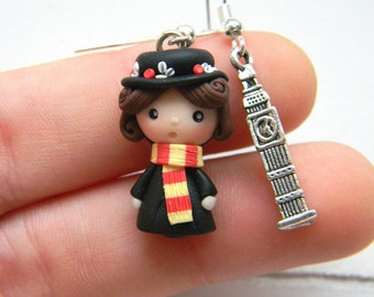 Mary Poppins inspired, in Fimo, polymer Clay, earrings, Earrings