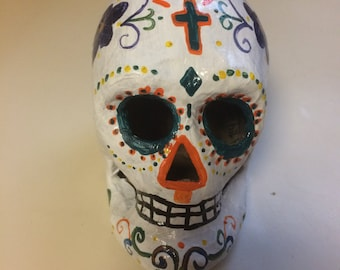 Hand-painted white sugar skull w/colorful accents
