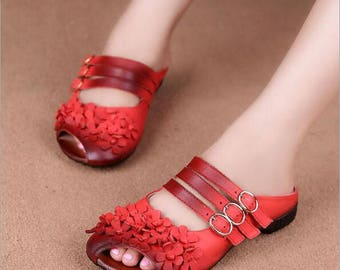 Handmade Women Sandals with Flowers, Flat Slippers Leather Sandals,Beach Sandals,Summer Shoes Sandals for Women