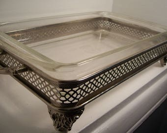 Pyrex Vintage Baking Dish w/Silver Plated Footed Serving Stand