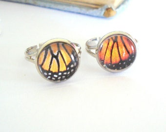 Butterfly Wing Ring, Monarch Butterfly, Butterfly Jewelry, Spring Jewelry, Feminine Jewelry, Rhodium Titanium