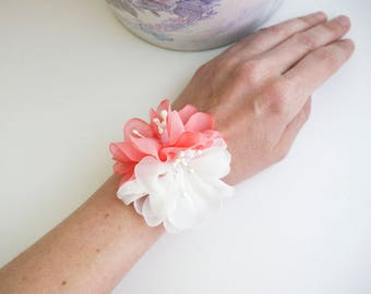 Coral flower wrist corsage, Flower girl bracelet, Chiffon Flower corsage, Bridesmaid Corsage , Flower girl corsage, beach wedding