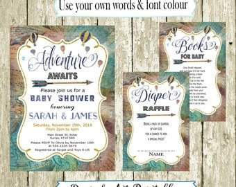Boy Baby Shower Invitation for Boys Printable Watercolor World map Adventure Invite Books for baby Diaper Raffle Gender Reveal DOWNLOAD