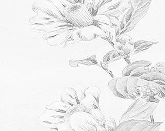 3 japanese flower art grayscale coloring pages digitl download 3 adult coloring pages for grownup coloring