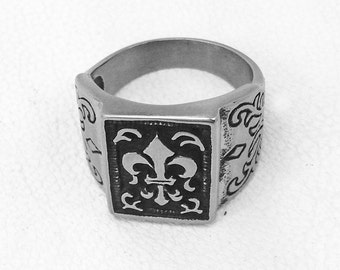 Silver Ring, Gothic Jewelry Ring, Sterling Silver 925, Biker MC Ring, Steampunk Ring, Skull Jewelry, Hipster Ring, Kings Ring,