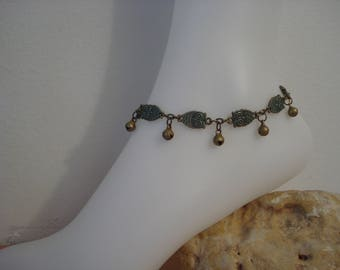 Owl anklet, Antique bronze chain anklet, Bells ankle bracelet, Egyptian Belly dancing, Bohemian, Hippie, Birds anklet, Good luck jewelry