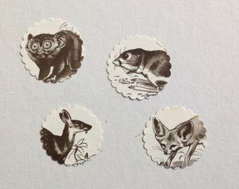 10 upcycling vintage sticker scraps embellishments with black and white animals