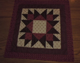 "Red and Dark Olive Green Table Topper or Mini Quilt with Cream Background   18"" x 18"""