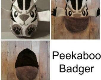 Badger Peekaboo  Peek A Boo,Animal,, Plush Badger, Stuffie,Stuffed,Plush Animal