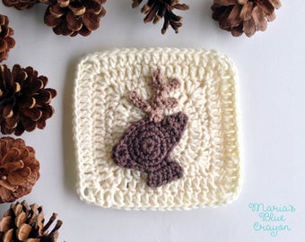 PDF Woodland Deer Granny Square Crochet Pattern - Woodland Afghan Series