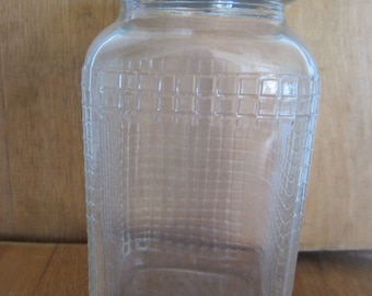Vintage Square Waffle Pattern Glass Coffee Jar/Ball Zinc Lid/Vintage Kitchen/Coffee Container/Kitchen Farmhouse/Country Kitchen/Tea Jar