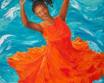 "Black Art Original Painting Girl Dancing ""Happy No. 6"",  24"" x 18"" (61cm x 46cm) Palette Knife Oil on Canvas"