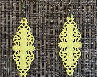 Pastel Yellow Hand Painted Filigree Earrings