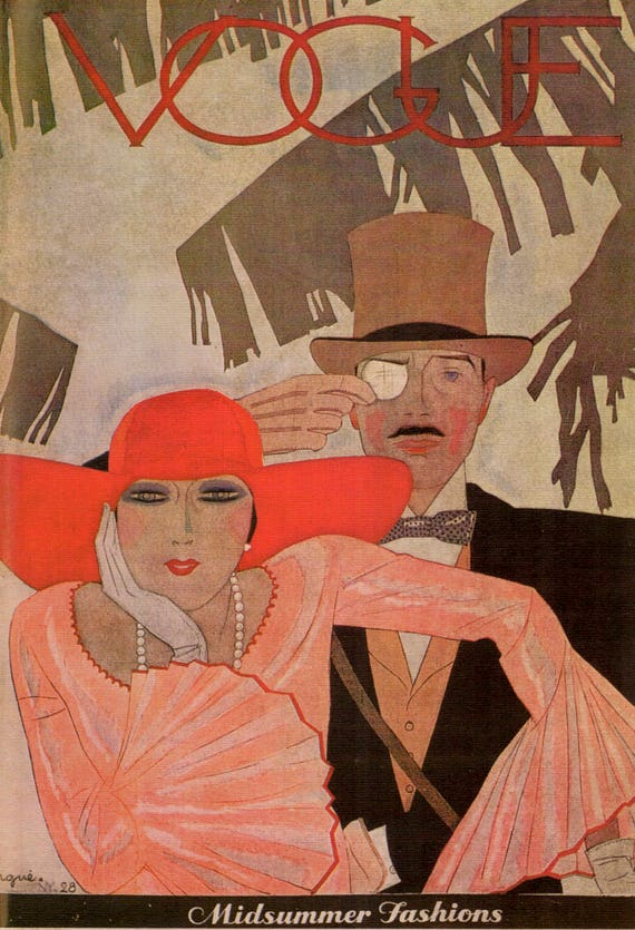 Large vintage print of 1928 Vogue cover by Pierre Mourgue, beautiful woman in red hat and supercilious man in top hat and Pince Nez