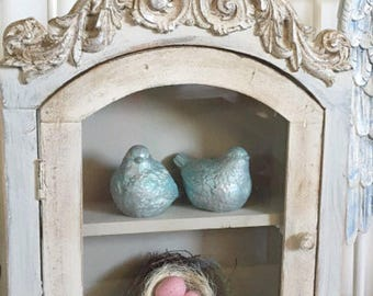 Shabby Chic Cupboard Ornate Wood Painted Shelf Girls Nursery Room Display Shelf French Nordic style