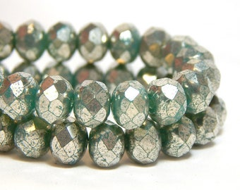 8x6mm Mint Green Mercury Czech Beads, Green Beads, Green Rondelles, Czech Rondelles, Mint Green Rondelles, Green Donut Beads, T-81D