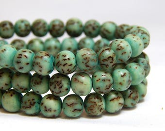 6mm Salwag Beads, Bodhi Seed Beads, Green Salwag Beads, Mint Green Beads, Rustic Beads, 6mm Green Beads, 6mm Round Green Beads, D-F10