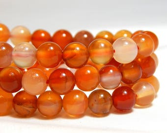 6mm Red Orange Carnelian, 6mm Orange Agate,  Carnelian, 6mm Carnelian, Orange Agate, Natural Gemstones, 6mm Agate Beads, Orange Beads, B-19D