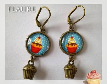 "Earrings cabochons ""cupcakes"""