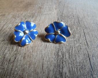 Vintage Sarah Coventry Blue Flower Earrings