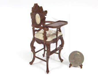 """Doll House Miniature 1:12 Scale The """"Berit"""" High Chair  [Finished in walnut]"""