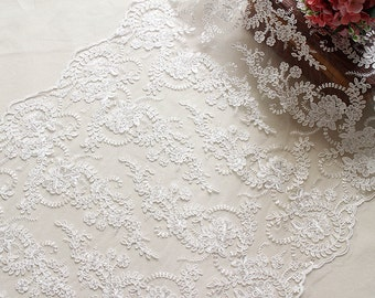 Alencon Lace,Bridal Veil Lace Trim Wedding Lace ivory by yard , Floral Embroidered Retro Lace 23Inches Wide
