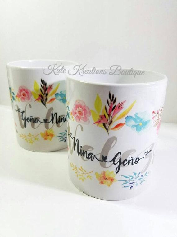Couples Mugs, Romantic Mugs, Couples Name Mug, Flower Mug.