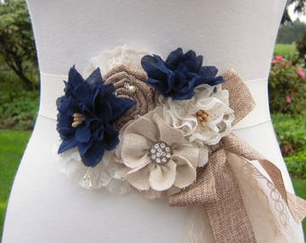 rustic navy wedding dress sash belt country chic beige and navy floral bridal sash