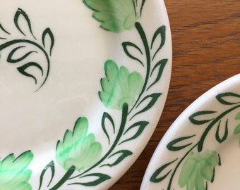 1950s Syracuse China small plates green leaves on tan adobe wear sold as set of 2
