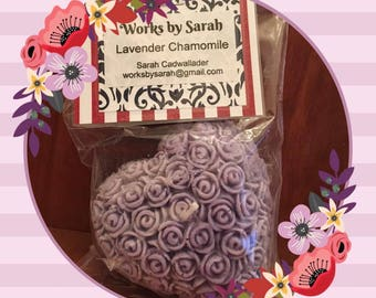LAVENDER CHAMOMILE heart candle