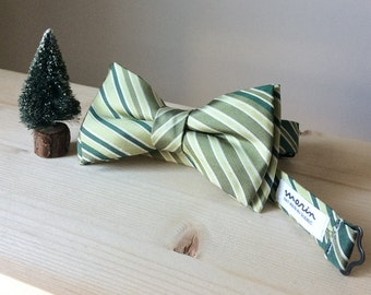 Bowtie - Black with white strpes - pre-tied - groom - unique bow tie - classy - black tie event