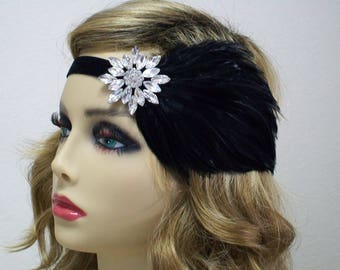 Black 1920s Headband, 1920s Headpiece, Flapper Headband, Great Gatsby headpiece, 1920s Hair Accessory, Flapper dress, Vintage inspired