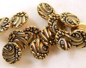 TierraCast Czech Buttons, Metal Shank Buttons, Leather Findings, Jewelry Findings, Antique Gold Plate, 4 or More Pieces, 8826