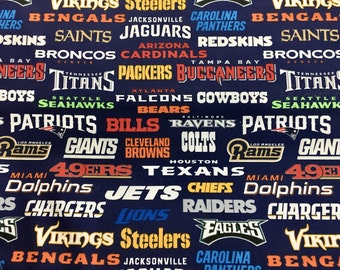 """NFL ALL 32 TEAMS 60"""" Cotton Fabric By The Yard All OverBlue Print Fabric Traditions"""
