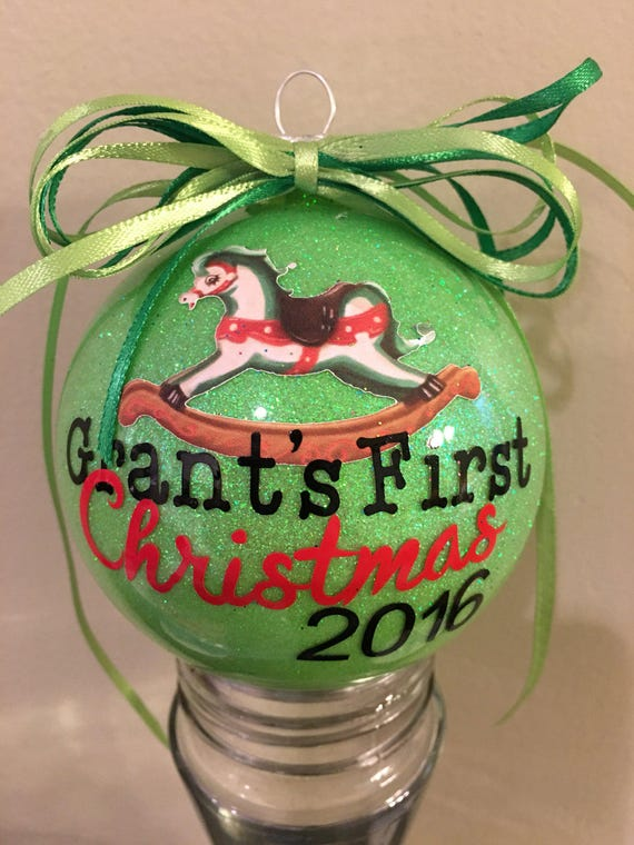 "Personalized Baby's First Christmas Glass Ornaments. 3.5"" glass round, Baby's 1st Christmas Ball, Baby Gift, First Ornament, First Christmas"