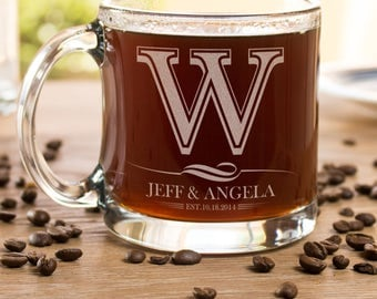 Coffee Cup, Wedding Glass, Monogram Coffee Cup, Personalized Gift, Coffee Mug, Etched Coffee Cup, Engagement Gift, Coffee Glassware