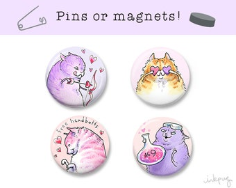 Valentine love cat pins - cute cat magnets or pinback buttons, Valentines Day cat lover gift by Inkpug