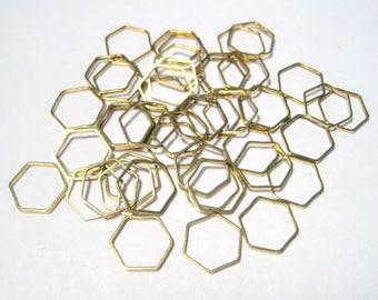 100pcs Raw Brass Hollow Hexagons Links Connectors 10mm