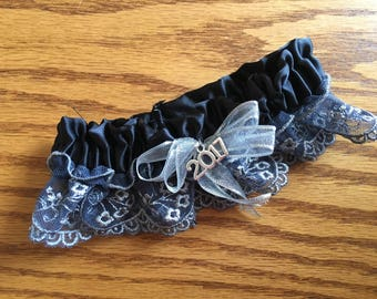 Prom or Wedding Garter- Black and Silver