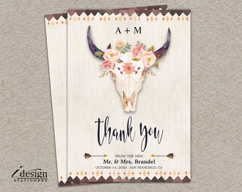boho thank you card diy printable tribal bohemian style wedding or bridal shower thank yous