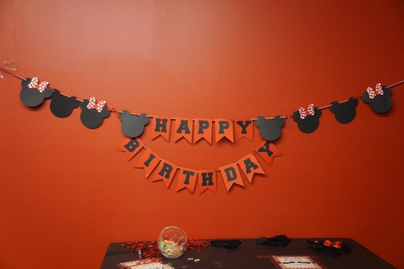 Mickey Mouse or Minnie Mouse Happy Birthday Banner