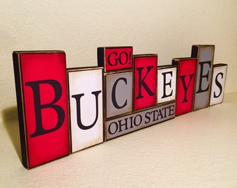 Ohio State Buckeyes Sign Buckeyes Word Blocks - The Ohio State Wooden Block Set - The Ohio State Buckeyes football - OSU football Buckeyes