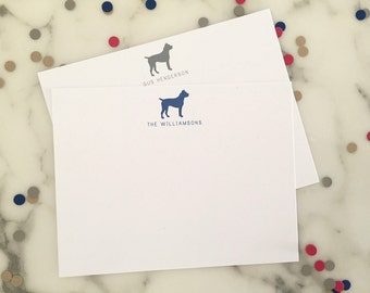Boxer Stationery -  Personalized Dog Stationary Set of 20 Flat Note Cards