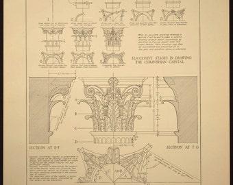 Column Print Detail Corinthian Antique Architectural Book