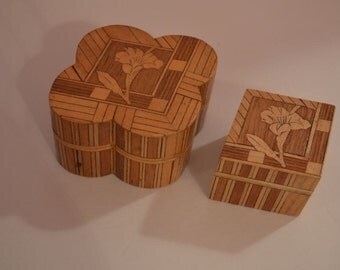 2 Rare Vintage Floral Marquetry Trinket Boxes the Diamond Box Fits Inside the Four Leaf Clover box